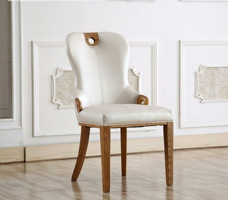 [해외]/ Cafe Chairs home Furniture solid wood  leather coffee chairs dining chair chaise nordic furniture minimalist modern 65*49*92cm
