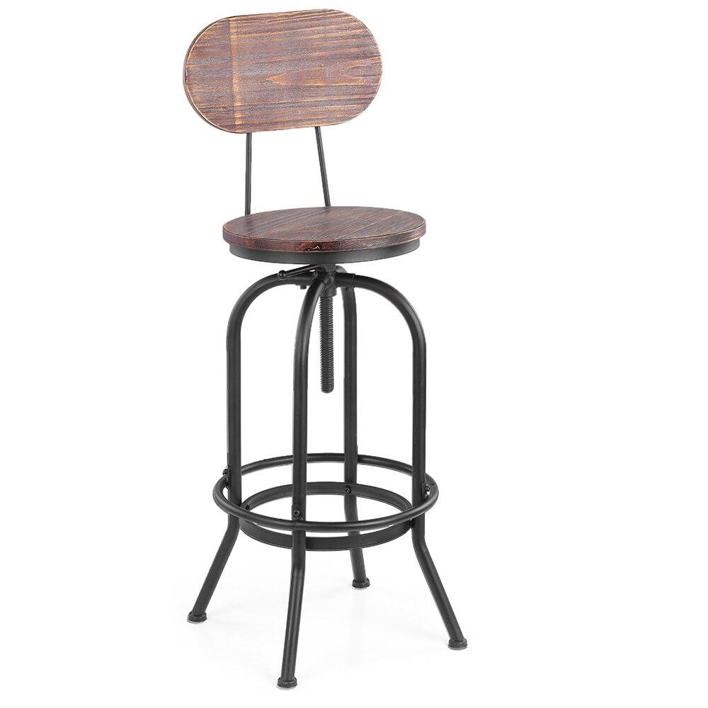 [해외]Ikayaa 산업용 스타일 바 의자 의자 높이 조절 식 회전 주방 식당 의자 pinewood top + backrestmetal/Ikayaa 산업용 스타일 바 의자 의자 높이 조절 식 회전 주방 식당 의자 pinewood top + backre