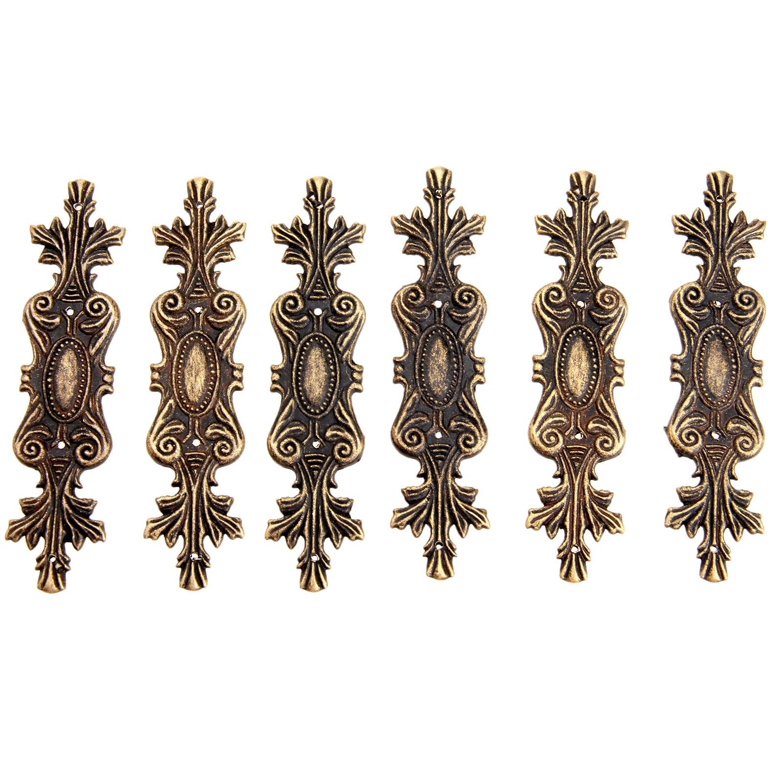 [해외]6Pcs Antique Decorative Corner Bracket Decorative Jewelry Box Wood Case Feet Leg Corner Protector Furniture FittingsNails/6Pcs Antique Decorative