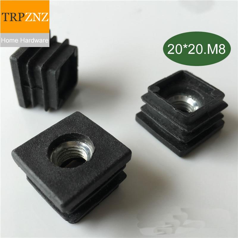 [해외]20*20mm * m8, 검은 색 사각형 튜브 플러그, 나사, 조절 가능, 플라스틱 플러그, 미끄럼 방지, 테이블 의자 발 패드, 가구 발 지원/20*20mm * m8, 검은 색 사각형 튜브 플러그, 나사, 조절 가능, 플라스틱 플러그, 미끄럼