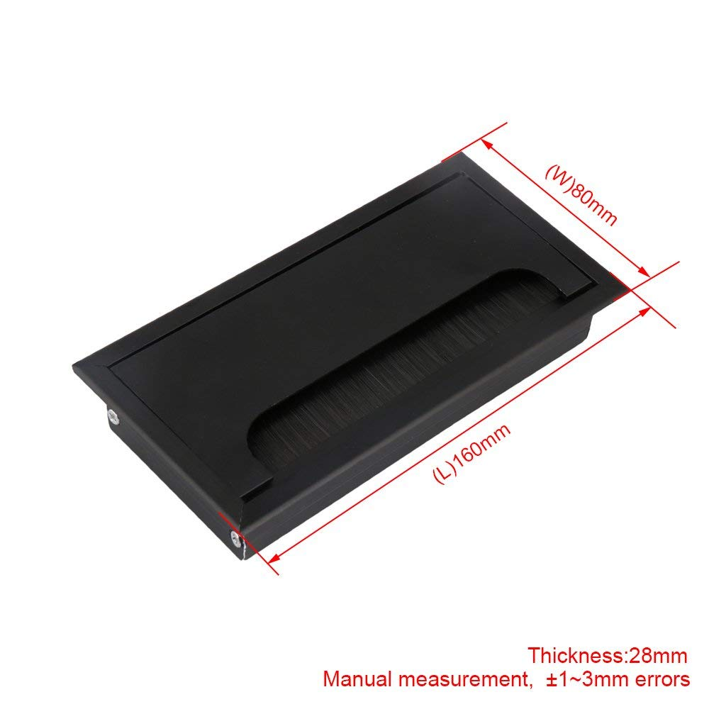 16cm 블랙 알루미늄 합금 테이블 책상 직사각형 와이어 케이블 그로멧 구멍 커버 콘센트 포트 블랙 브러시