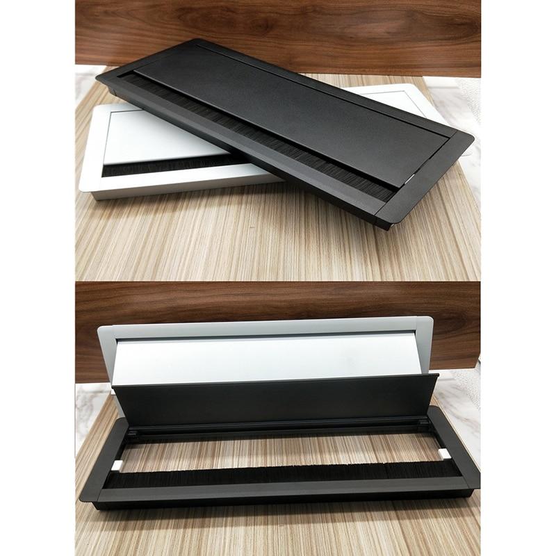 [해외]W127 * h300mm 직사각형 알루미늄 테이블 tv 캐비닛 데스크 와이어 케이블 탭 그로멧 부드러운 조용한 버퍼링 플랩 커버 브러시/W127 * h300mm 직사각형 알루미늄 테이블 tv 캐비닛 데스크 와이어 케이블 탭 그로멧 부드러운 조용