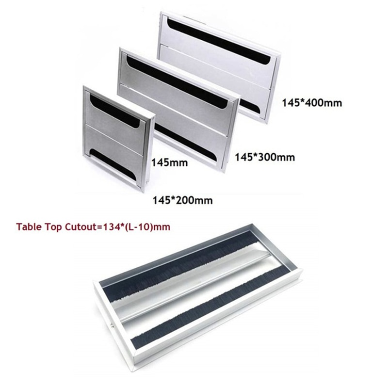 [해외]Rectangle Aluminum Office Table TV Cabinet Desk Wire Cable Hole Brush Double Flap Cover Grommet Side by Side/Rectangle Aluminum Office Table TV Ca