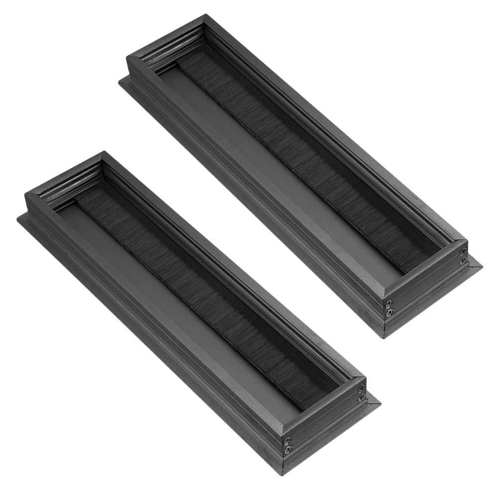 [해외]블랙 브러시 (280x80mm, 블랙) 와 2 pcs 블랙 알루미늄 합금 테이블 책상 직사각형 와이어 케이블 그로멧 구멍 커버 콘센트 포트/블랙 브러시 (280x80mm, 블랙) 와 2 pcs 블랙 알루미늄 합금 테이블 책상 직사각형 와이어 케