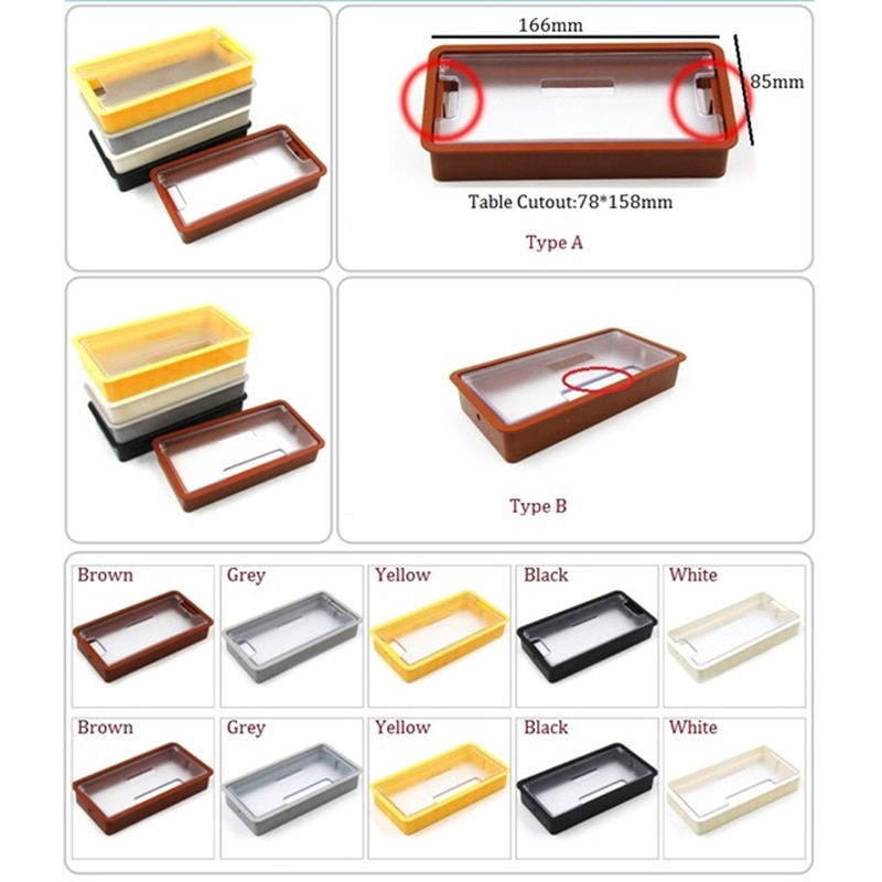 [해외]10Pcs/Lot Rectangle Plastic Table TV Cabinet Desk Wire Cable Grommet/10Pcs/Lot Rectangle Plastic Table TV Cabinet Desk Wire Cable Grommet