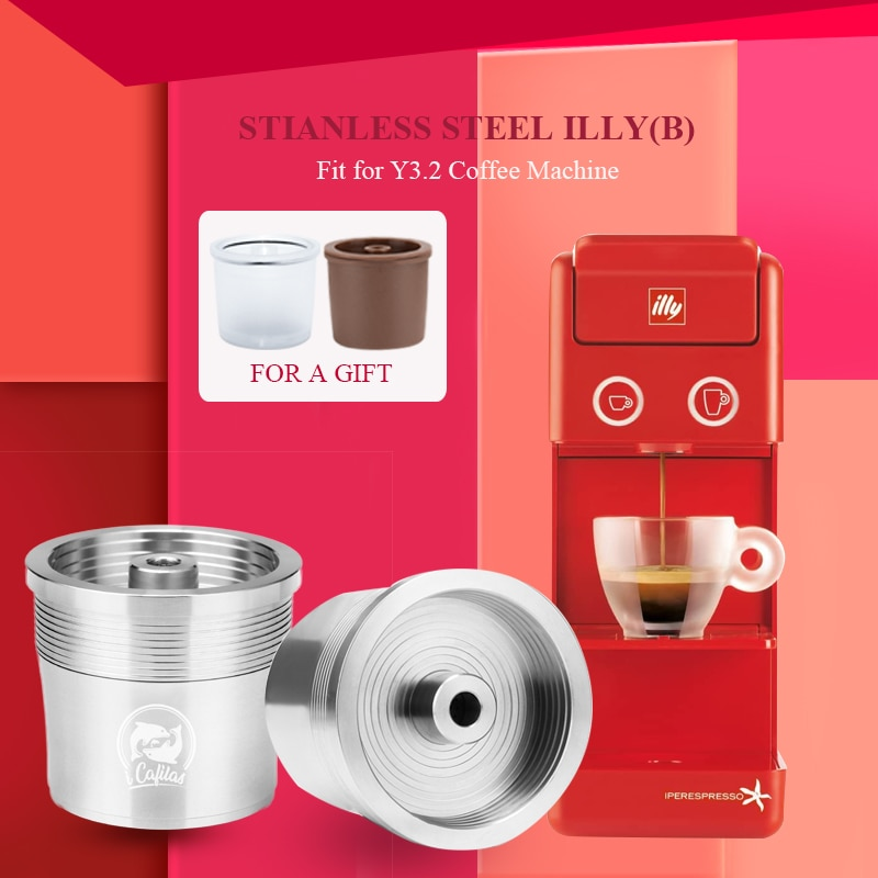 ICalifas illy coffee Machine Maker/illy Espresso Cafe 용 스테인레스 스틸 금속 리필 가능 재사용 가능한 캡슐 적합/ICalifas illy coffee Machine Maker/illy Espresso